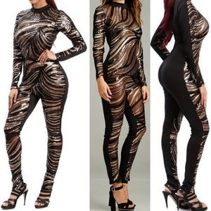 Pants - Zebra sequin design jumpsuit